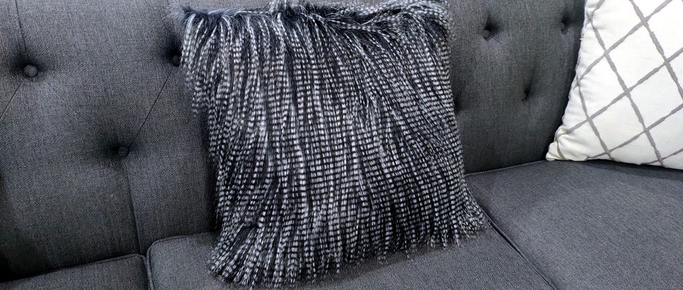 Luxurious Faux Feather Accent Pillow