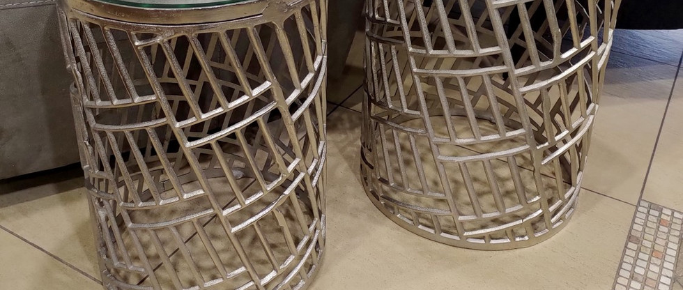 Round Mirror Top Accent Tables – Set of 2