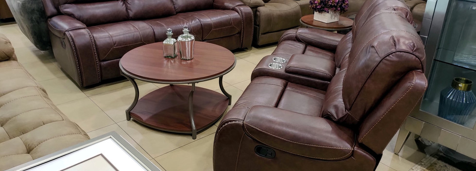 Reclining Sofa & Loveseat w/ Storage Consoles