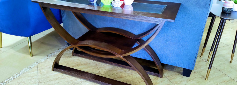 Sofa Table with Glass Top Insert