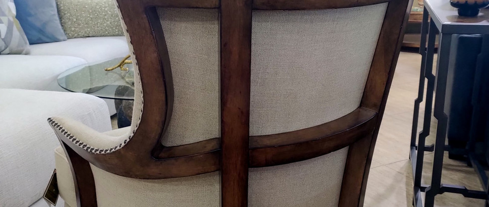 Majestic Wood-Back Upholstered Accent Chair