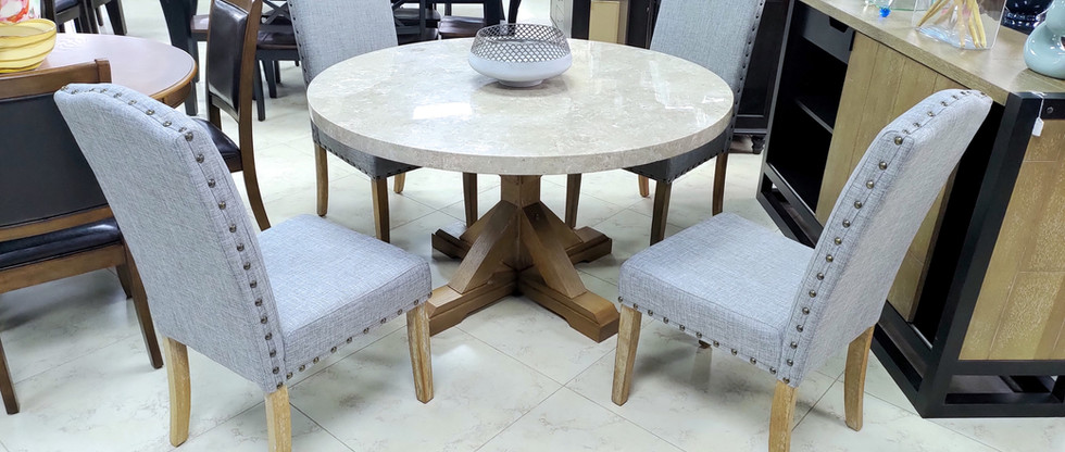 5-Piece Marble Top Dining Set