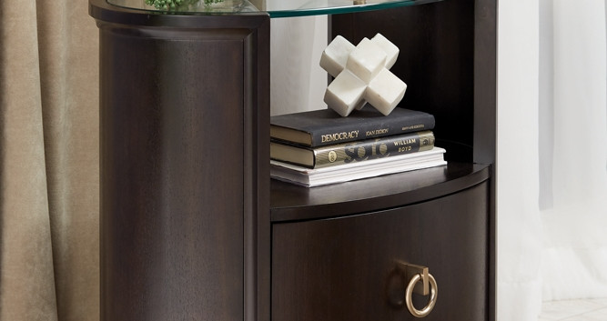 Glass-Top Oval Night Stand