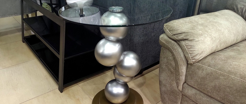 Unusual End Table w/ Glass Top