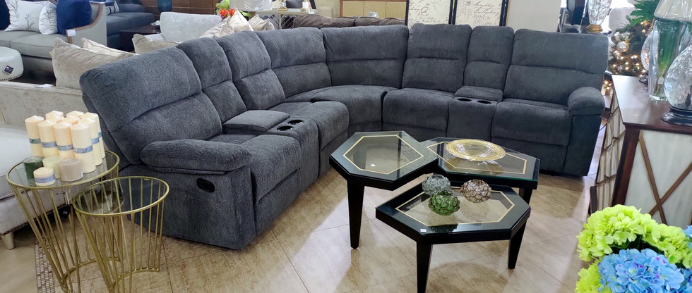 Reclining Sectional Seating w/ 2 Storage Consoles
