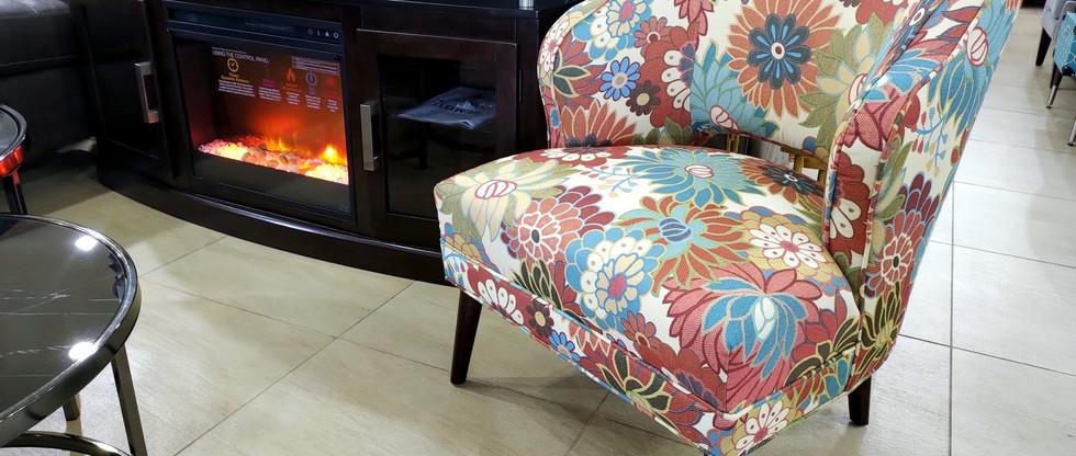 Floral Motif Accent Chair