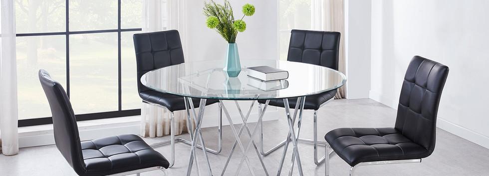 Modern 5-Piece Glass Top Dining Set