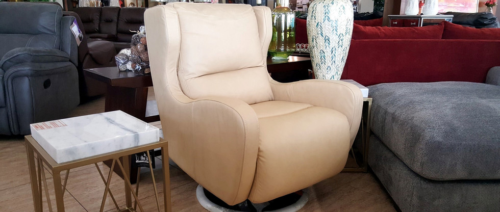 Comfy LEATHER Swivel Chair – Cream