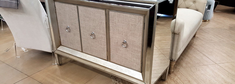 Mirrored Cabinet with Linen Door Panels