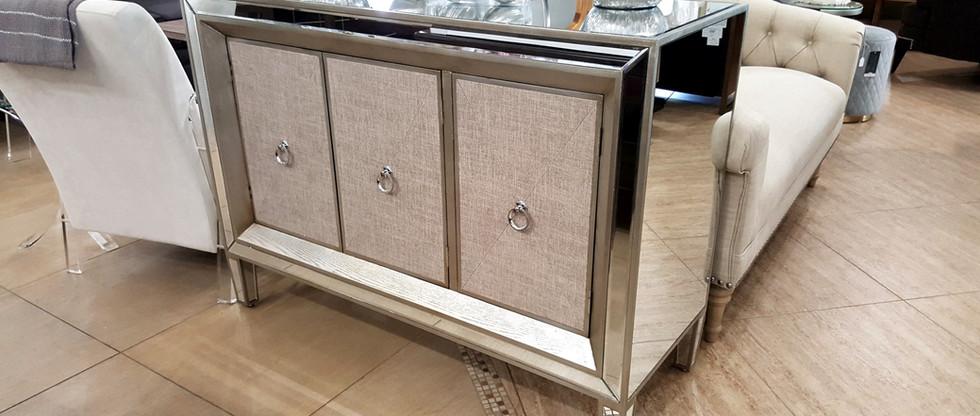 Mirrored Cabinet with Linen Door Panels