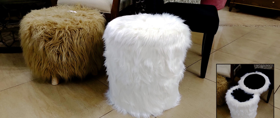 White Faux Fur Stool with Storage