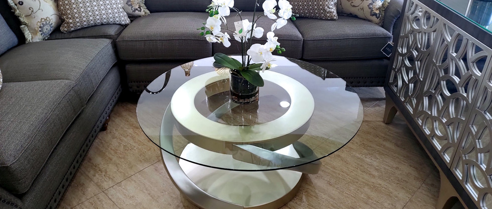 Abstract Cocktail Table w/ Glass Top
