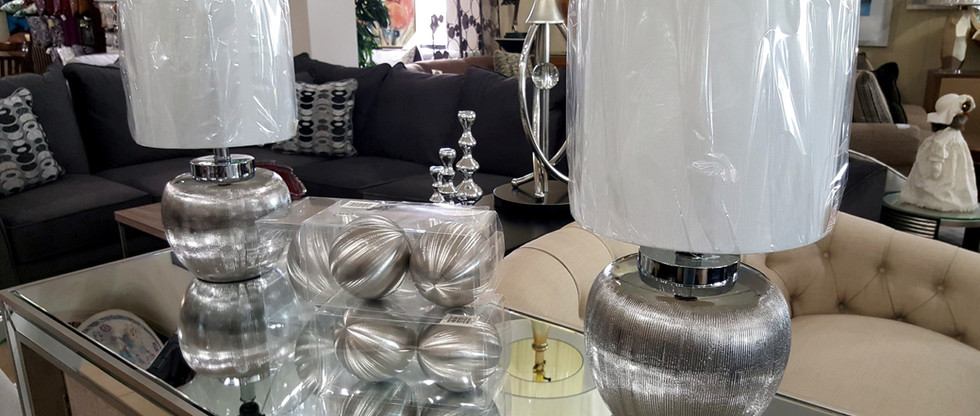 Pair of Table Lamps – Etched Ceramic Silver