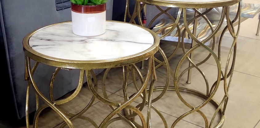 Set of 2 – Marble Top Accent Tables