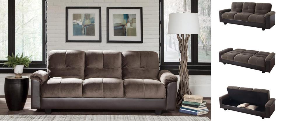 Sofa Bed with Hidden Under-Seat Storage