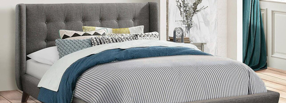 King-Size Demi-Wing Upholstered Bed
