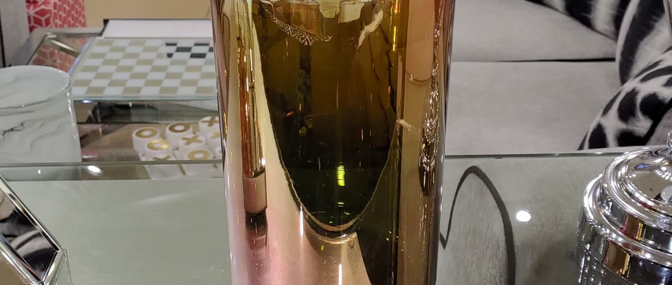 Gold Chrome Glass Jar with Metal Lid