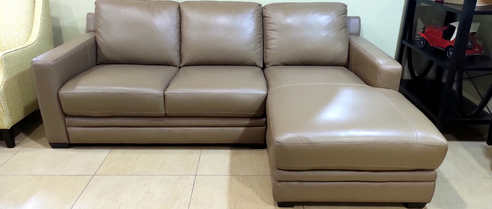 Leather Sofa with Chaise