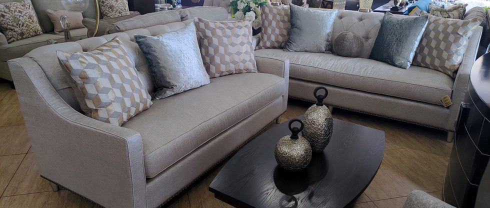 Quality Sofa & Loveseat with Diamante Buttons