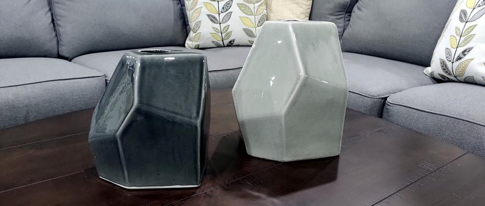Geometrically-Themed Ceramic Vases
