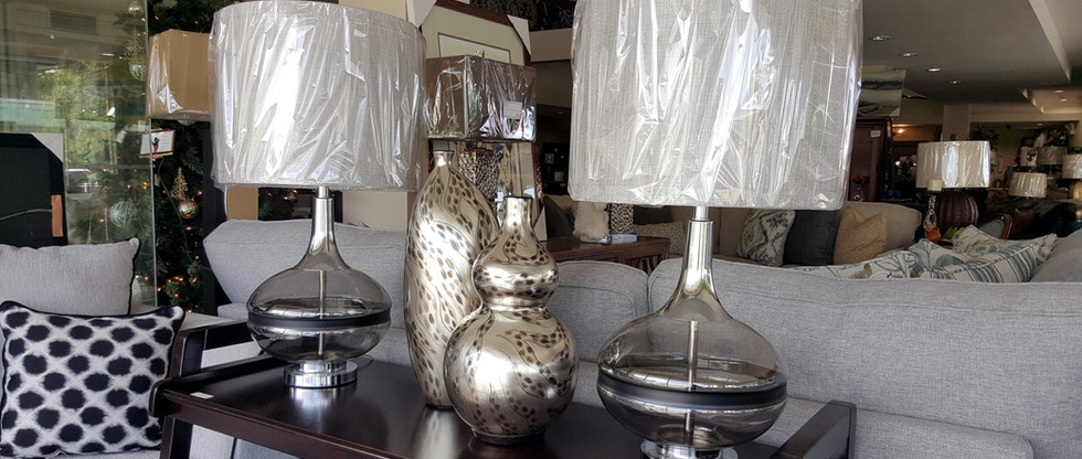 Pair of Table Lamps – Smokey Glass
