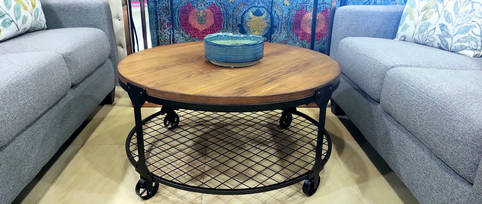 Round Cocktail Table on Wheels