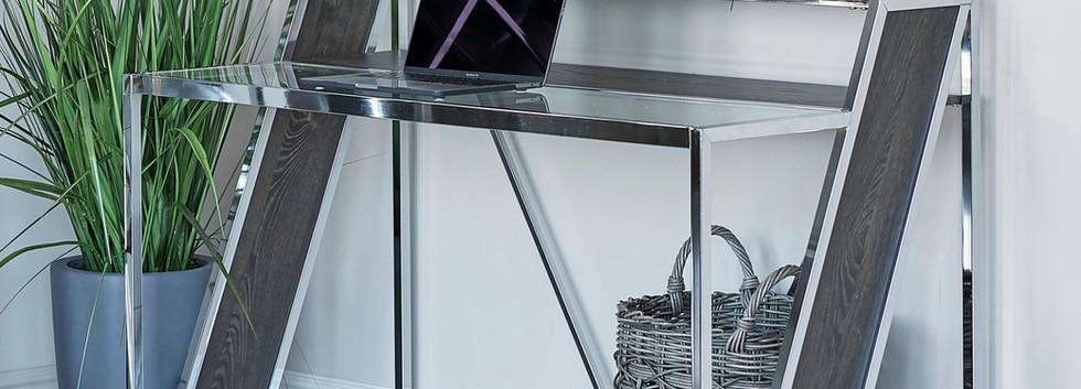 2-Tier Glass Top Writing Desk