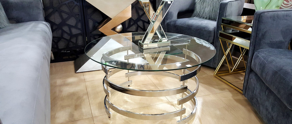 Chrome Cocktail Table with Glass Top