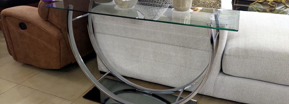 Glass Top Sofa Table – Chrome