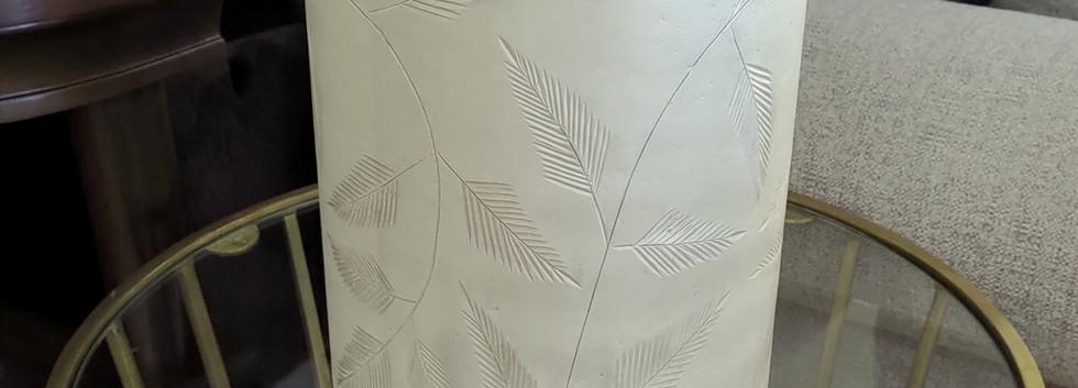Etched Leaf Glass Vase