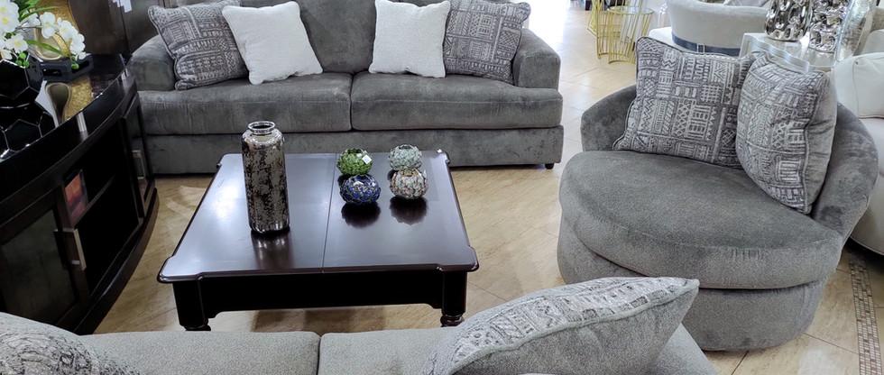 Sofa, Loveseat, and Swivel Chair
