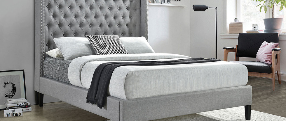 Full-Size Demi-Wing Upholstered Bed