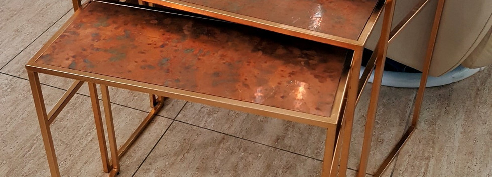 Copper Top Nesting Tables – Set of 3