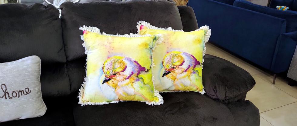 Bird-Theme Pillows with Fringe