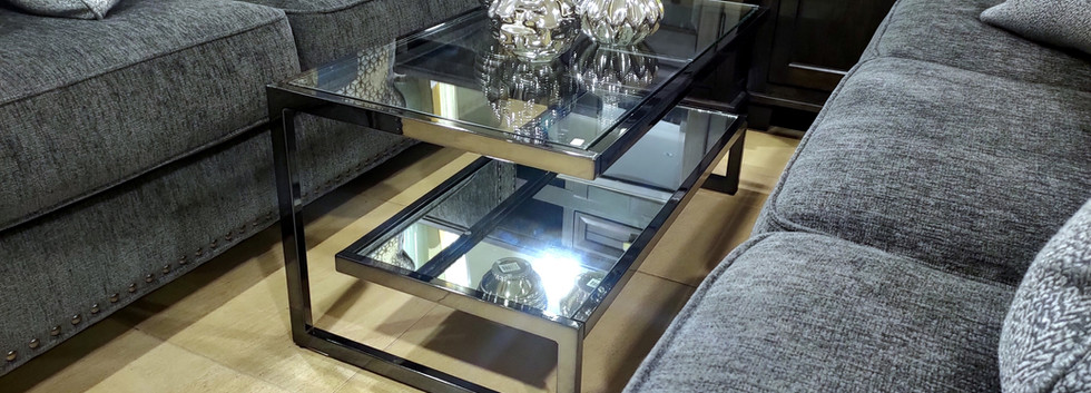 Glass Top Cocktail Table – Chrome