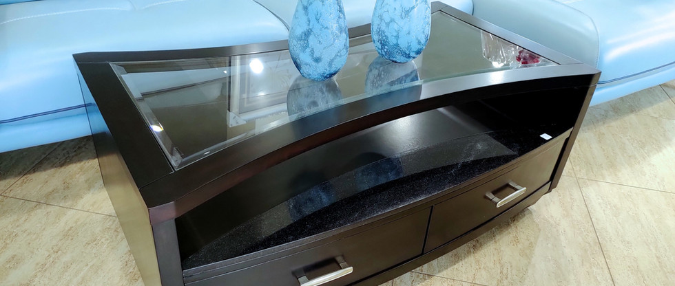 Hourglass Design Cocktail Table on Casters