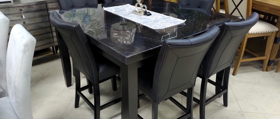 7-Piece Marble Top Counter-Height Dining Set