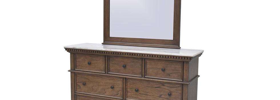 MARBLE-TOP Dresser w/ Mirror