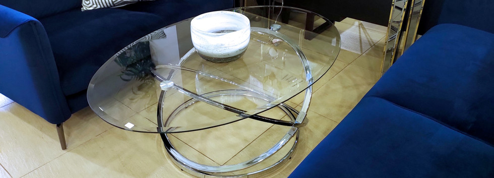 Glass-Top Oval Cocktail Table
