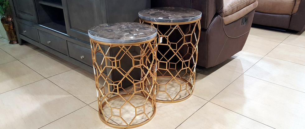 Marble Top Gold Metal Nesting Tables – Set of 2