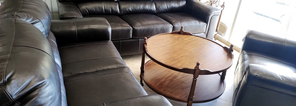 Comfy Leather Sofa, Loveseat, and Chair