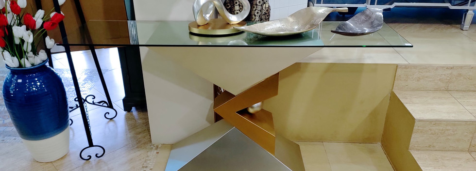 Contemporary Console Table w/ Glass Top
