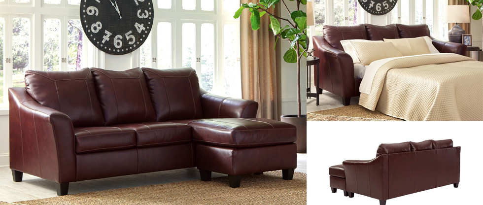Leather Sofa Chaise with Queen Pull-Out Sleeper
