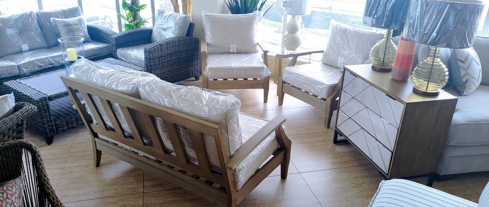 Outdoor Eucalyptus Wood Loveseat & 2 Chairs