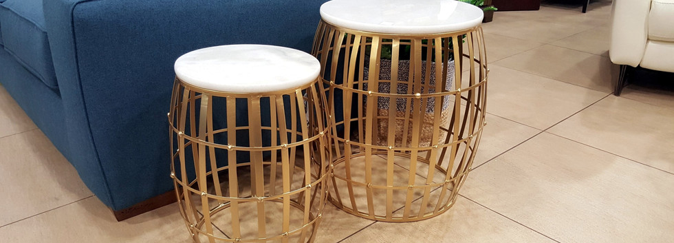 Marble Top Gold Cage Nesting Tables – Set of 2