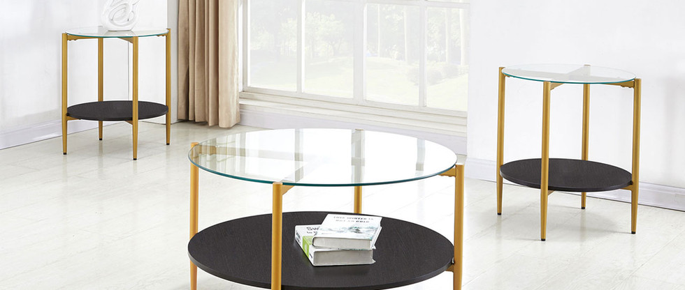 3-Piece Glass Top Occasional Table Set