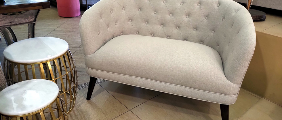 Tufted Settee with Beige Linen Upholstery