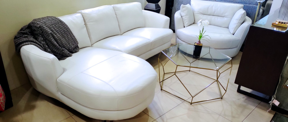 LEATHER Sectional … and Large Swivel Chair