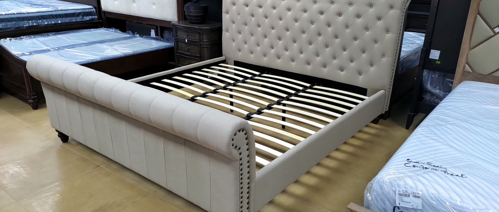 King-Size Upholstered Bed – Sand Colour
