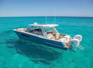 World Cat Boat 400DCX at anchor